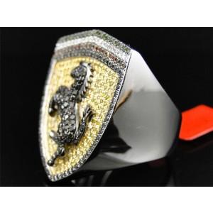 White Gold Finish Ferrari Car Logo Yellow Black 2.1 ct Diamond Mens Ring