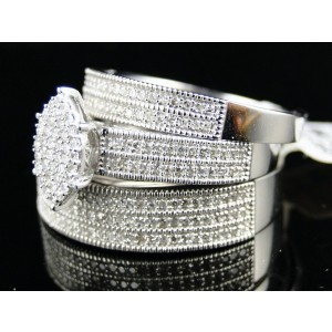10K White Gold Wedding Band Engagement Ring Diamond Trio Set