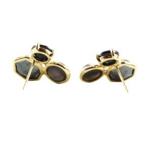 Ippolita 18K Yellow Gold Lago Rock Candy 3 Stone Black Onyx Stud Earrings
