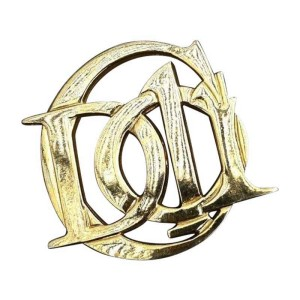 Dior 14K Gold Plated Christian Monogram Pin
