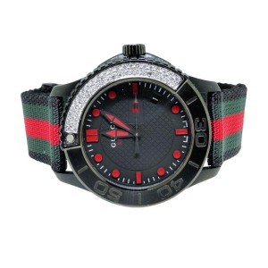 Gucci Ya126230 Timeless Canvas band Diamond Mens Watch