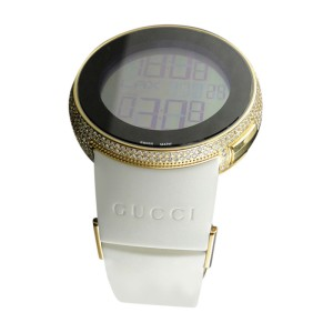 Gucci YA114216 Grammy Gold Digital White Full 4 Ct Diamond Watch Mens