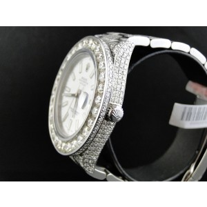Rolex Iced Out Date Just II 2 Flooded With Genuine Diamonds 46mm Mens Watch
