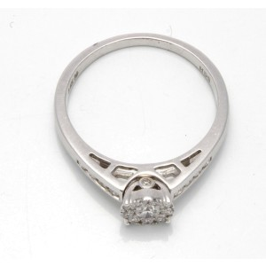 14K White Gold Diamond Fashion Cocktail Ring