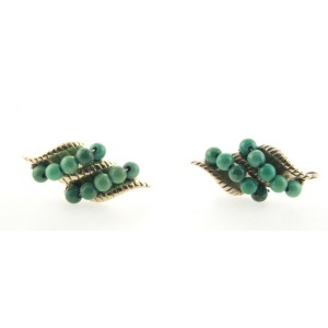 14K Yellow Gold Natural Turquoise Gem Stones Earrings