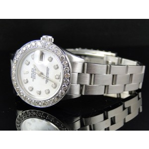Rolex Datejust Oyster 2.5 ct Diamond Stainless Steel White MOP Dial Ladies Watch