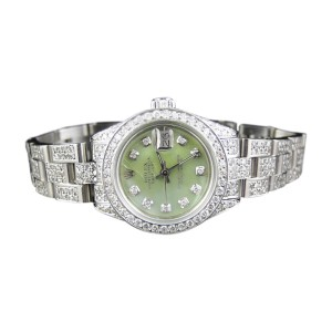Rolex Datejust Oyster Stainless Steel  Diamond Green MOP Dial Womens Watch