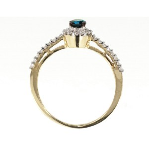 10K Yellow Gold Blue/White Diamond Halo Solitaire Engagement Ring Size 7