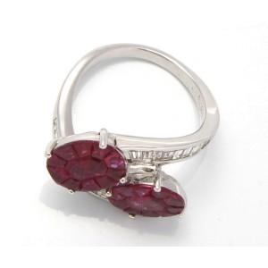 18K White Gold Diamonds Rubies Ring