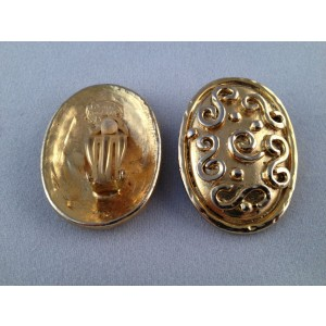 Eduard Rambaud Oval Swirl Paris 14 kt Gold Plated Clip-On Vintage Earrings