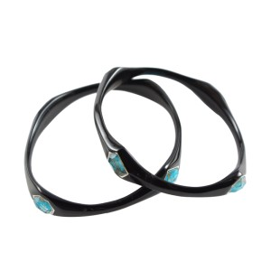 Ippolita Resin and Sterling Silver with Turquoise Bangle Bracelet
