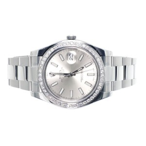 Rolex Custom 41 MM Silver DateJust II 2 With Genuine Diamonds 2.5 Ct Mens Watch