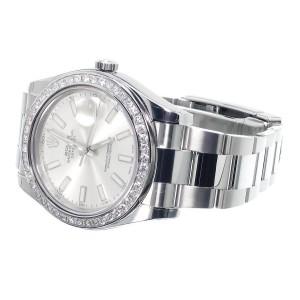 Rolex Custom 41 MM Silver DateJust II 2 With Genuine Diamonds 2.5 Ct Mens Watch