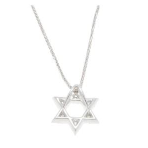 Jewish Star David Religious 14k White Gold Diamond Pendant