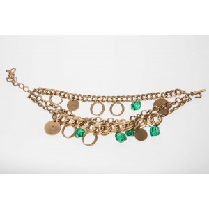 Oscar de la Renta 18 kt Gold Plated Chain with Green Drops Bib Necklace