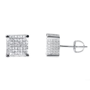 White Gold Finish Sterling Silver Round Diamond 3D Cube Studs Earrings