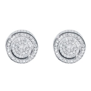 White Gold Finish 3D Round 1/3 ct Diamond Pave 10mm Mens Ladies Studs Earrings