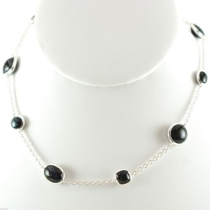 Ippolita Sterling Silver Scultura Blue Tigers Eye Multi Shape Station Chain Necklace