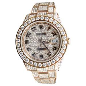 Rolex Datejust Date Just 2 II 45MM 28 Ct Diamond Rose Gold Mens Watch