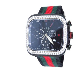 Gucci YA131202 Coupe Red Green Flag Band 3.25ct Diamond Sports Black Mens Watch
