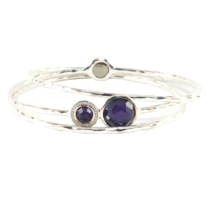 Ippolita 925 Sterling Silver with Purple Stone and Diamond Trio Set Bangle Bracelet