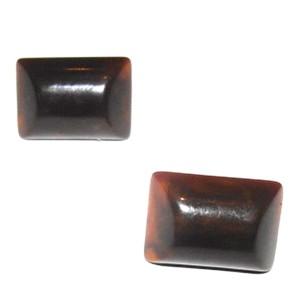 YSL Brown Swirl Bakelite Bubbled Rectangular Earrings