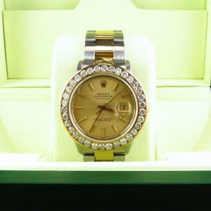 Rolex Datejust Oyster 18K Stainless Steel Channel Set Diamond Watch Mens Watch