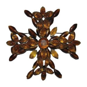 Kenneth Lane Poured Glass Gripoix Maltese Cross Pin