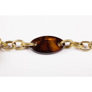 YSL Faux Tortoise Shell Lucite Necklace