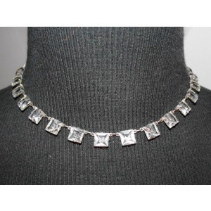 Edwardian Silver Plated Paste Riviere Deco Necklace Earring Set