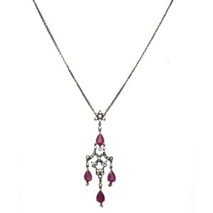 18K Gold Diamonds 4 Red Rubies Black Rhodium Necklace