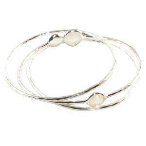 Ippolita Sterling Silver Mother of Pearl Diamond Bangle Bracelet Trio Set