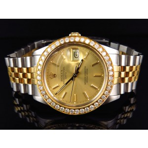 Rolex Date 2 Tone 18k/Stainless Steel White 2.0 Ct Diamond Mens Watch 34mm