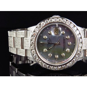 Rolex 36 MM Datejust Oyster Stainless Steel 12.0 Ct Diamond Mens Watch