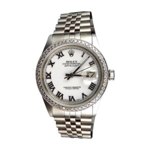Rolex 36 MM Datejust Jubilee Stainless Steel White 2.0 Ct Diamond Mens Watch