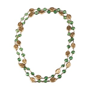 Chanel Faux Golden Coin Simulated Glass Pearl and Green Lucite Chicklet Sautoir Necklace