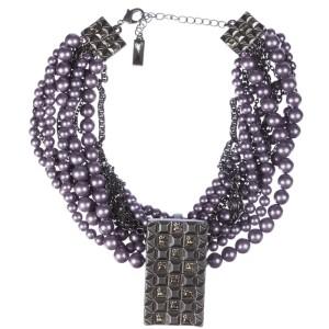 Lia Sophia Fuax Purple Pearl Torsade Necklace