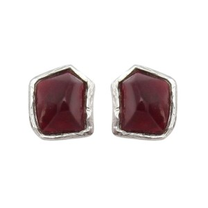 Ysl Yves Saint Laurent Pierced Abstract Red Lucite Silvertone Finish Earrings