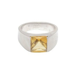 Cartier 18K White Gold Yellow Citrine Ring