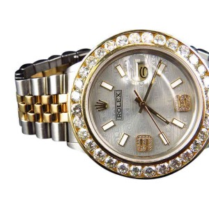 Rolex Datejust 2 Tone 36MM 18k Stainless Steel Custom Dial Diamond 6.25 Ct Watch
