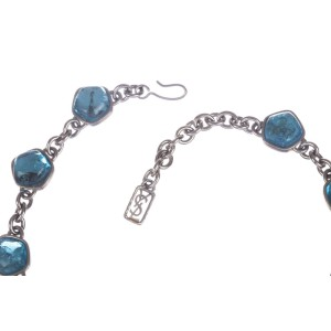 Yves Saint Laurent Blue Topaz Gripoix Glass Cabochon Necklace