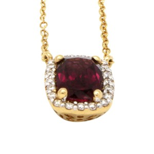 14K Yellow Gold, Ruby and Diamond Necklace
