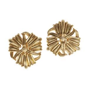 Oscar de la Renta Ornate Plated Earrings