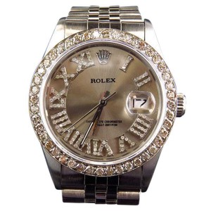 Rolex 36 MM Datejust Jubilee Pave Stainless Steel Diamond Watch