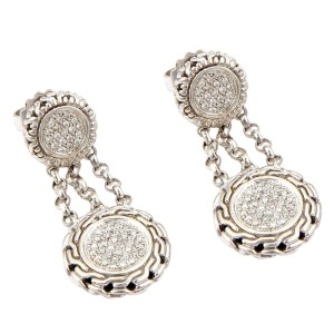 John Hardy Sterling Silver & 18K Yellow Gold Circular Pave Diamond Dangle Drop Earrings