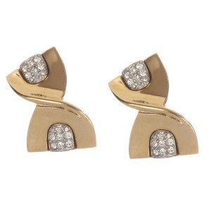 Givenchy Abstract Ribbon Rhinestone Earrings