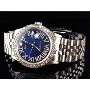 Rolex 36 MM Datejust Jubilee Roman Stainless Steel Diamond 3.5 Ct Mens Watch