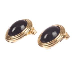Christian Dior Faux Black Onyx Cabochon Earrings