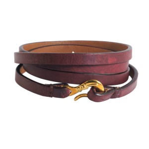 Ippolita 18K Yellow Gold Bordeaux Leather Wrap Bracelet