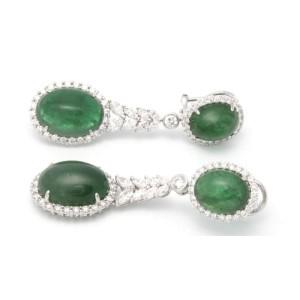 18K White Gold Diamond Emerald Drop Earrings